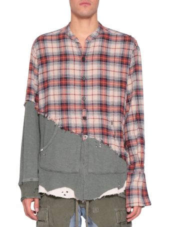 Greg Lauren Check Flannel And Cotton Fleece Shirt