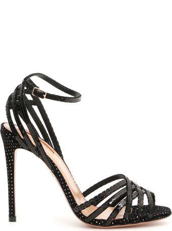 Aquazzura Velvet Studio Sandals With Sequins And Rhinestones