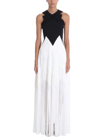Givenchy Black And White Silk Long Evening Dress