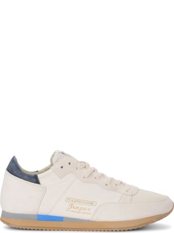 Philippe Model Tropez Vintage West White Leather And Suede Sneaker