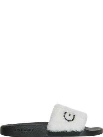 Givenchy Logo Fur Slides