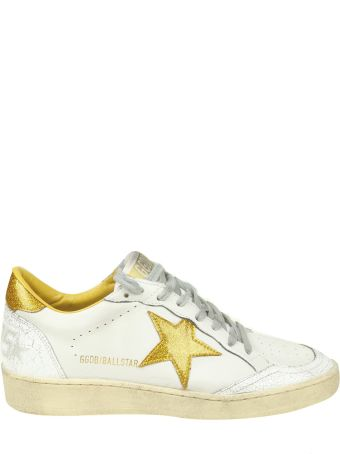 """Golden Goose """"ball Star"""" Sneakers In White Leather With Glitter Details"""