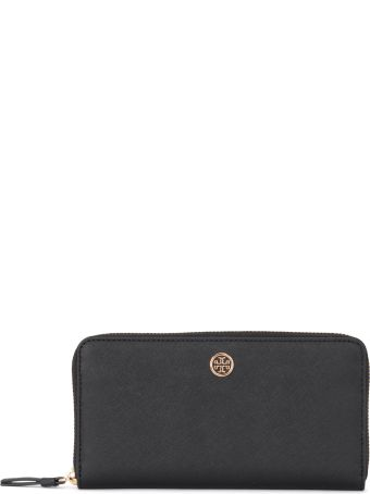 Tory Burch Robinson Black And Blue Saffiano Leather Wallet
