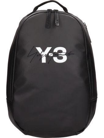 Y-3 Black Leather Backpack