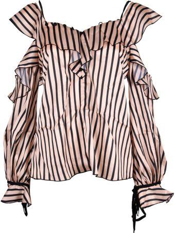 self-portrait Striped Off Shoulder Frill Top