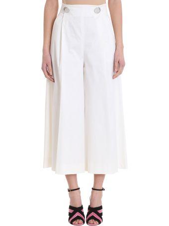L'Autre Chose Cropped White Cotton Trousers