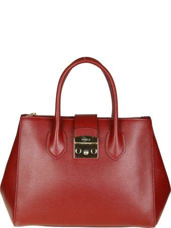 "Furla ""metropolis M"" In Cherry Color Leather"