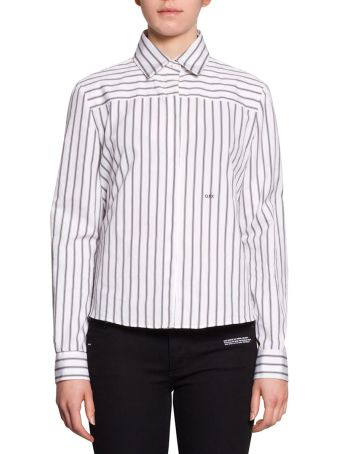 Off-White Panelled Striped Cotton Shirt