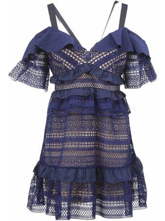 self-portrait Sheer Embroidered Dress
