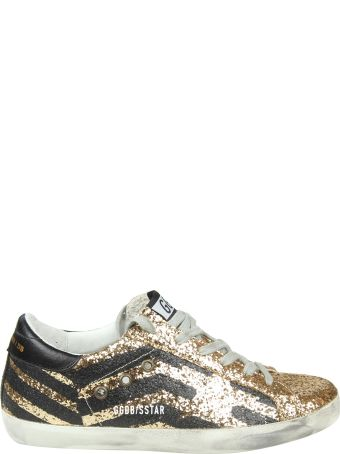 """Golden Goose """"superstar"""" Sneakers In Gold Glittered Leather"""