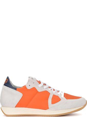 Philippe Model Monaco Vintage Grey Suede And Orange Nylon Sneaker