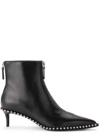 Alexander Wang Eri Black Leather Ankle Boots With Studs And Zip