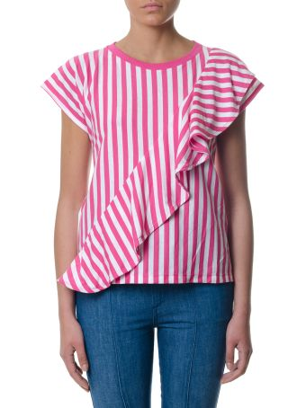 Golden Goose White & Fuchsia Striped Frilled Top