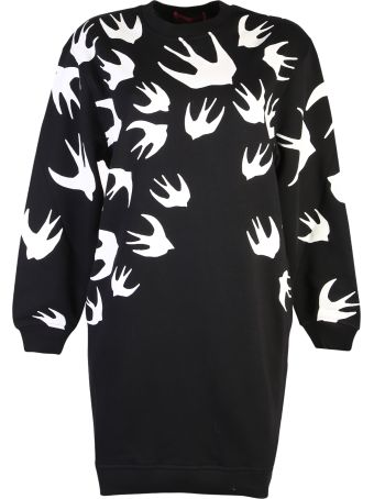 McQ Alexander McQueen Black Swallows Print Dress