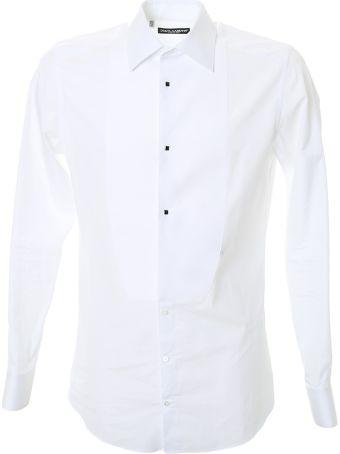 Dolce & Gabbana White Cotton Tuxedo Shirt