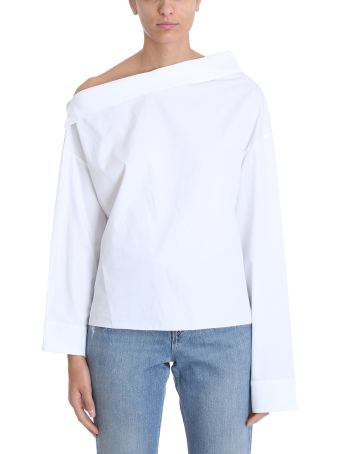 RTA One Shoulder White Cotton Shirt