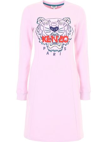 Sweatshirt Dress With Tiger Embroidery