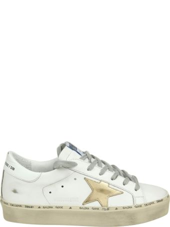 """Golden Goose """"hi Star"""" Sneakers In White Leather With Star In Gold Contrast"""