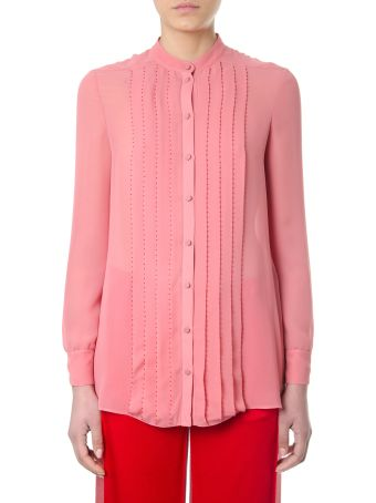 Valentino Pleated Candy Pink Silk Georgette Shirt