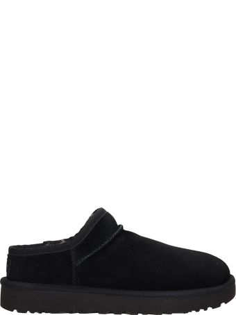 UGG Classic Black Suede Slippers