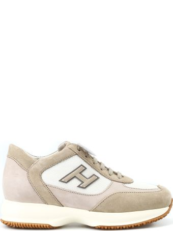 Hogan New Interactive H Flock Beige Suede Sneakers