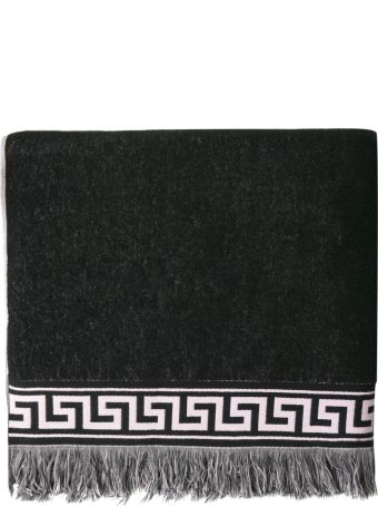 Versace Black Greek Key Medusa Beach Towel