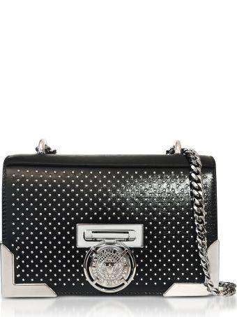 Balmain Black Studded Leather Bbox20 Clutch