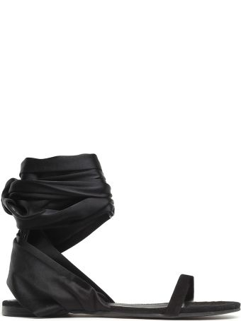 Cedric Charlier Ankle-tie Suede Flat Sandals