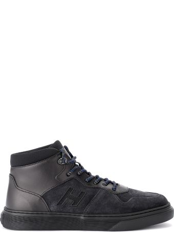 Hogan H365 Basket Black Leather And Suede Sneaker