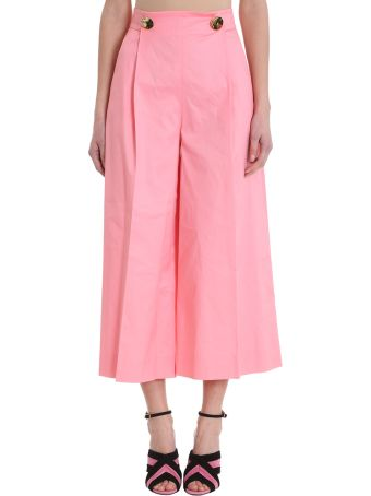 L'Autre Chose Cropped Pink Cotton Trousers