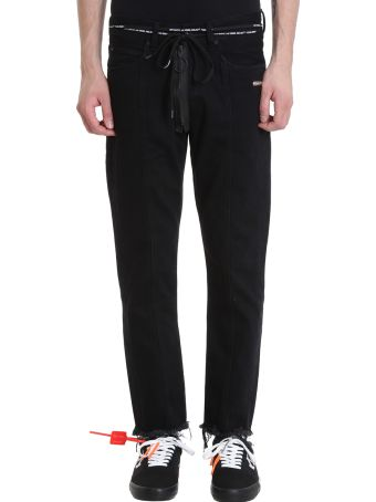 Off-White Black Cropped Denim Jeans
