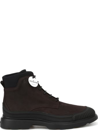 Hogan Ebony Brown Nubuck Combat Boots