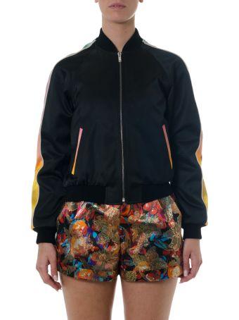 Saint Laurent Black Panther Silk Bomber Jacket