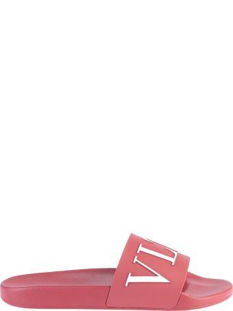Valentino Garavani Red Branded Slide Sandals