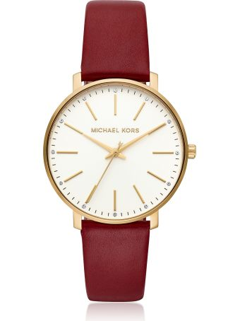 Michael Kors Pyper Gold Tone And Maroon Leather Watch