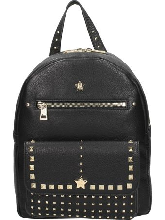 Ash Black Leather Sarah Backpack