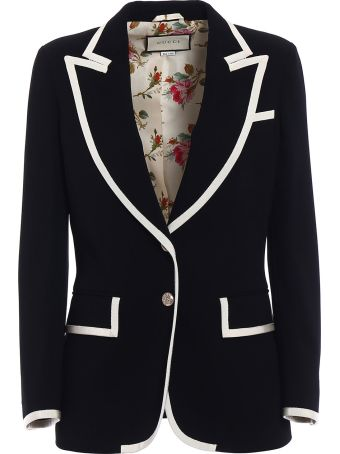 Gucci Contrast Trim Single Breasted Jacket