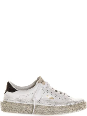 Golden Goose White Ggdb Glitter Spray Tennis Sneaker
