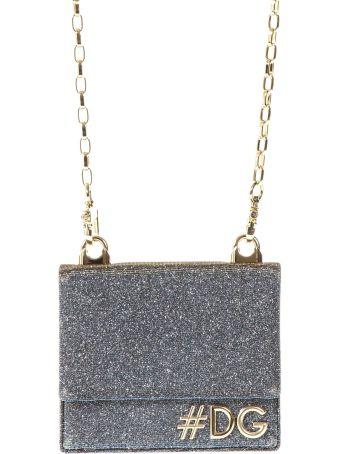 Dolce & Gabbana Silver Lurex Logo Bag