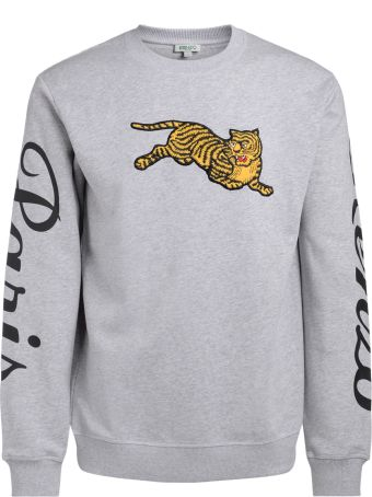 Kenzo Jumping Tiger Grey Fleece With Maxi Patch