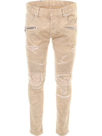 Camouflage Trousers With Vintage Effect