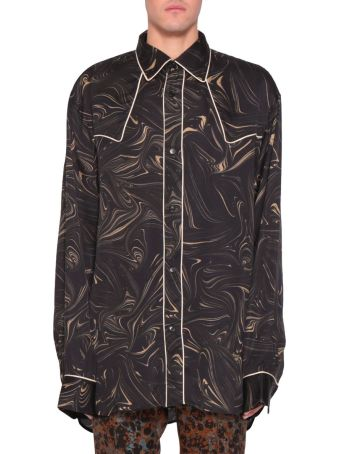 Dries Van Noten Oversized Printed Satin Shirt