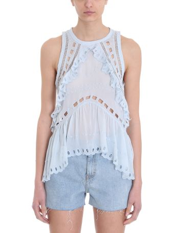 IRO Paya Light Blue Eyelet Embroidered Sleeveless Top
