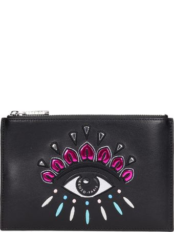 Kenzo Black Leather Clutch Bag