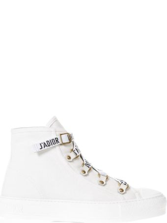 Dior White Laced Sneakers With Logo