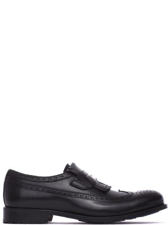 Pollini Slip-on With Fringe In Black Calf Leather