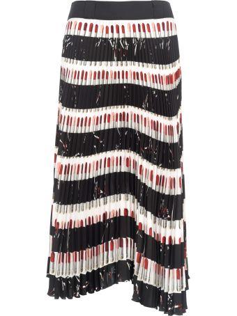 Prada Long Skirt Pleates Lipstick