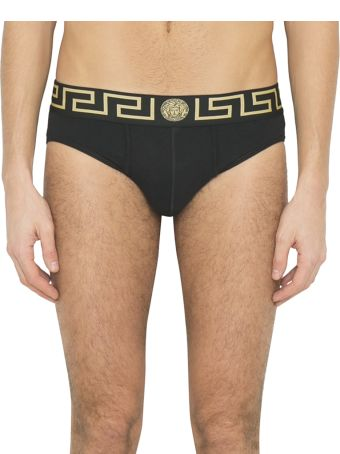 Versace Black Greek Key Medusa Jersey Cotton Briefs