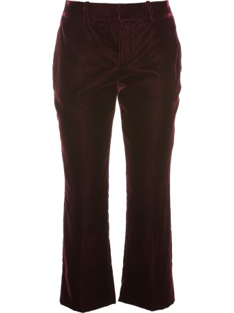 Saint Laurent  Cropped Flared Pants In Burgundy Velvet