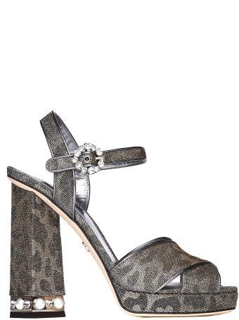 Dolce & Gabbana Keira Sandals In Glittery Leopard-print